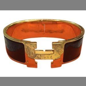 Hermès H burgundy/ Gold enamel Bracelet